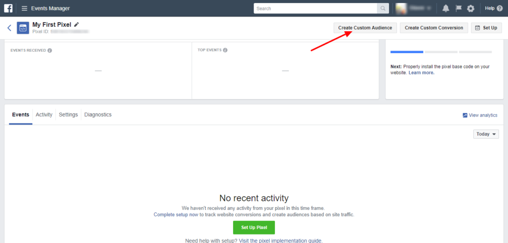 how to add facebook custom audience pixel to shopify