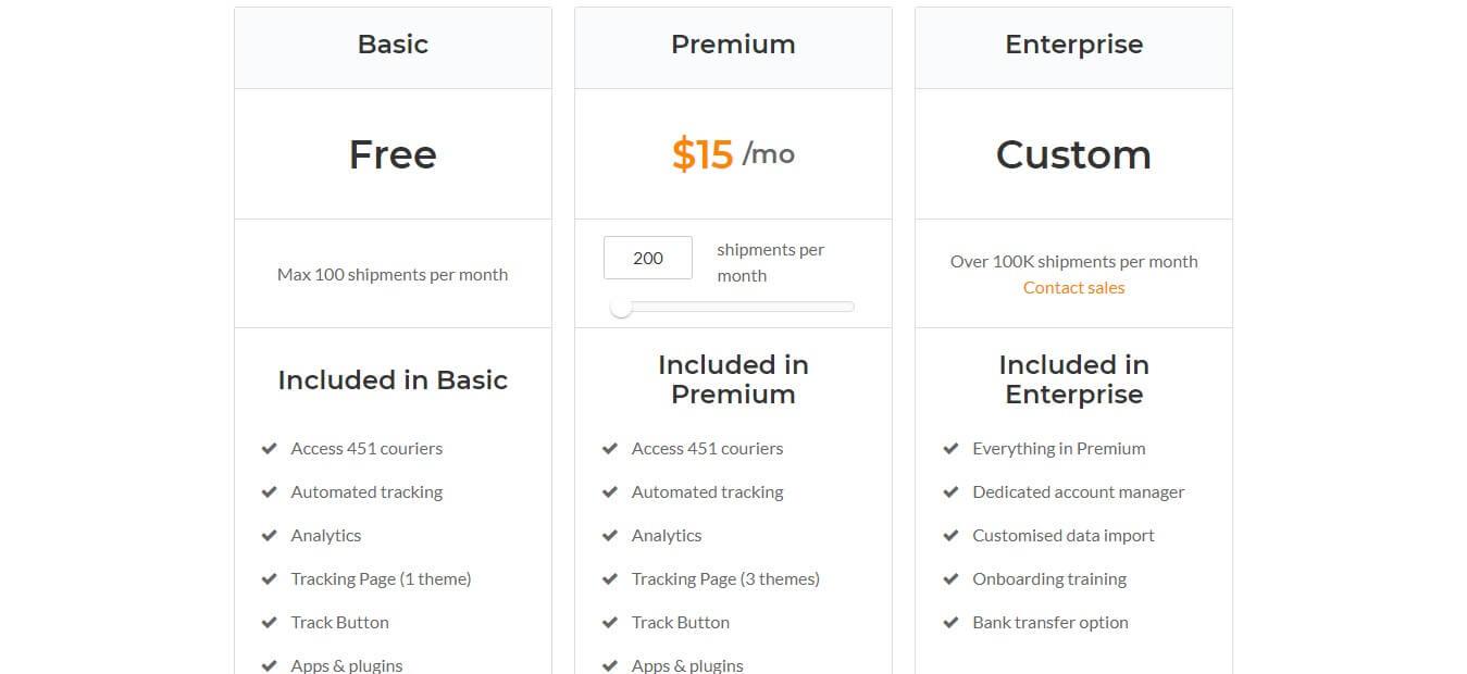 AfterShip Pricing plan